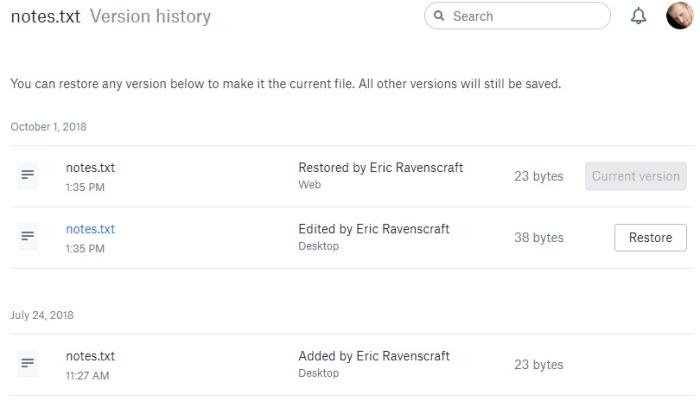 Dropbox version history