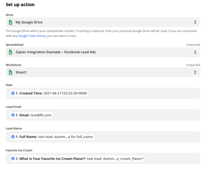 """A fully mapped set of fields showing information from Facebook Lead Ads that will be sent to your spreadsheet. """"Created Time"""" is below """"Date,"""" """"Email"""" is below """"Lead Email,"""" and """"Full Name"""" below """"Lead Name."""