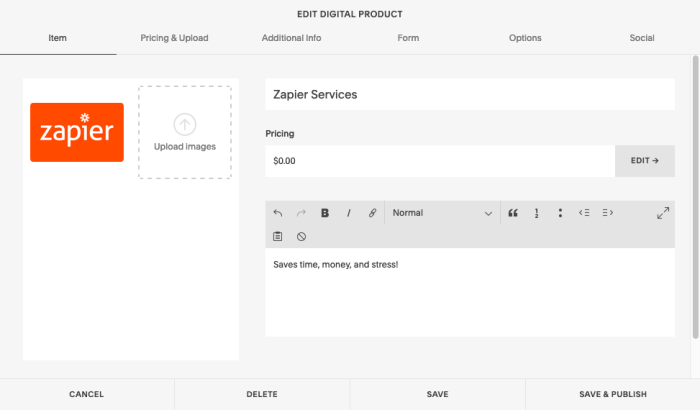 Editing a product in Squarespace