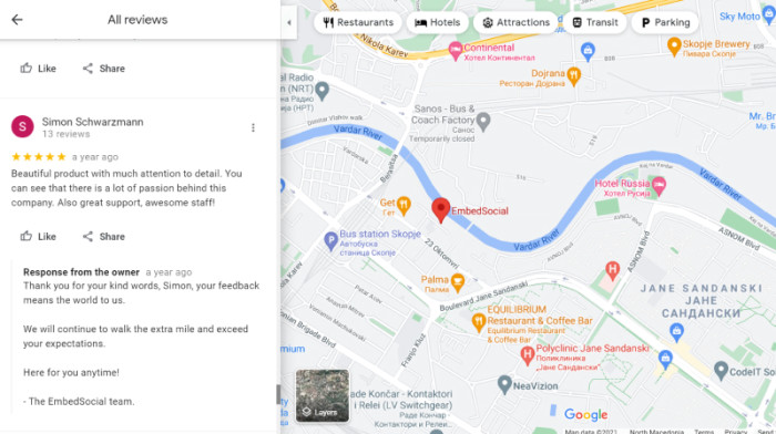 A positive Google review for EmbedSocial