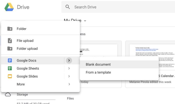 Google Drive new submenu