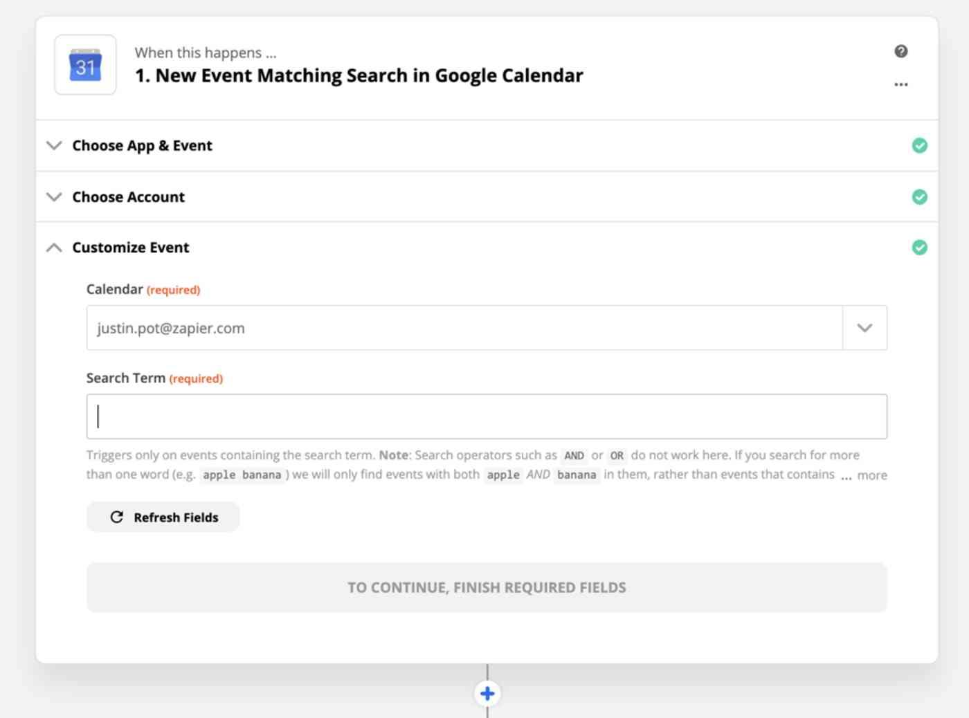 Monitoring Google Calendar events in Zapier