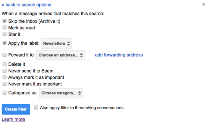 Gmail filter archiving