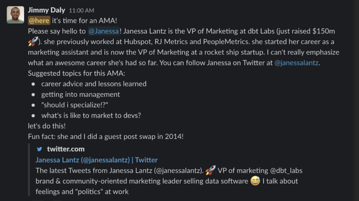 A screenshot of Jimmy Daly announcing the AMA guest
