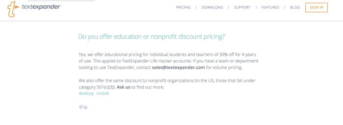 TextExpander student discount
