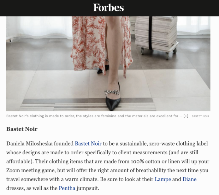 Bastet Noir's feature in Forbes