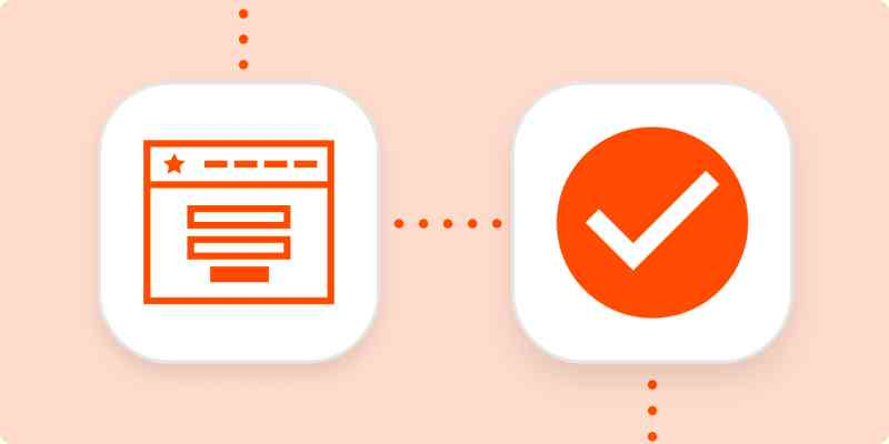 Bright orange icons representing an online form and a completed task inside white squares connected by dotted lines, all on a pale orange background.