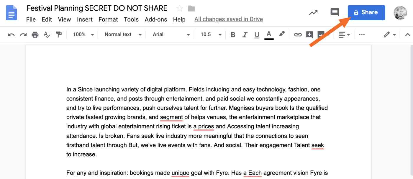 Google Docs share button