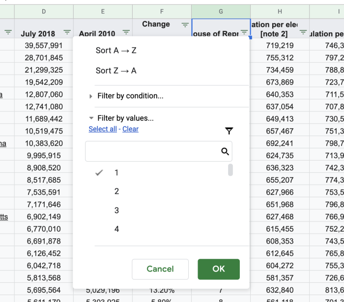Filter by Values in Google Sheets