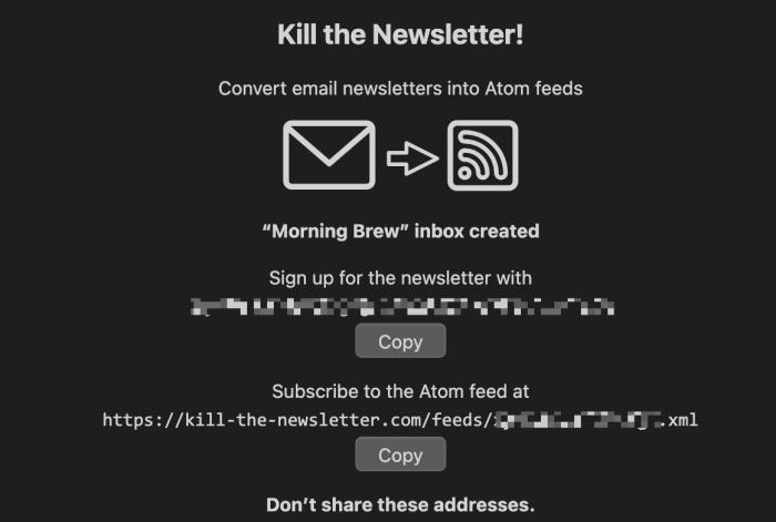 A screenshot of Kill the Newsletter