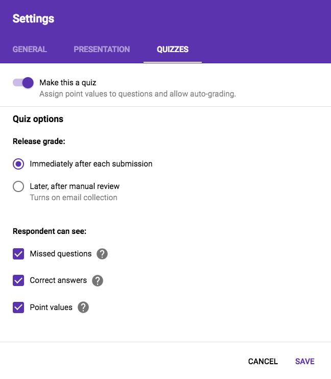 adjust quiz settings in Google Forms