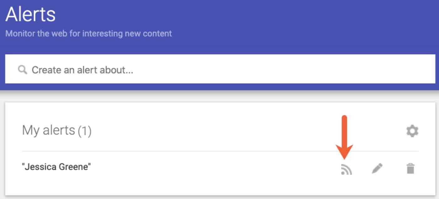 Google Alerts RSS feed link