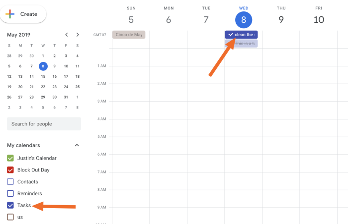 Tasks showing up in your actual calendar
