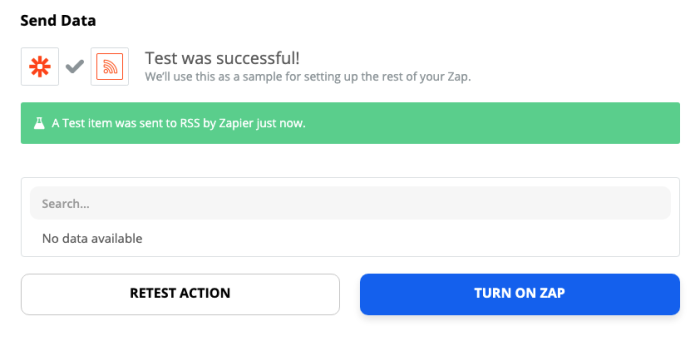 A screenshot of the Zap editor with a success message.