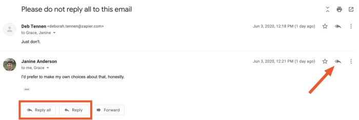 The reply all buttons on Gmail