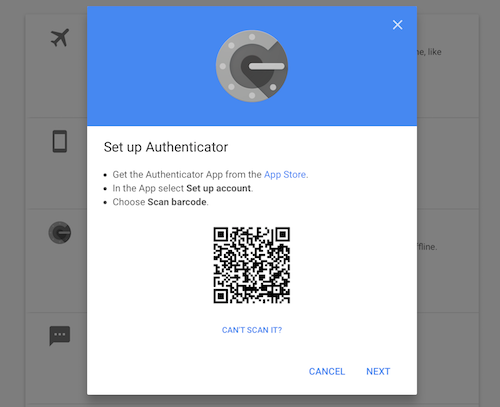 QR code to add Google two-factor