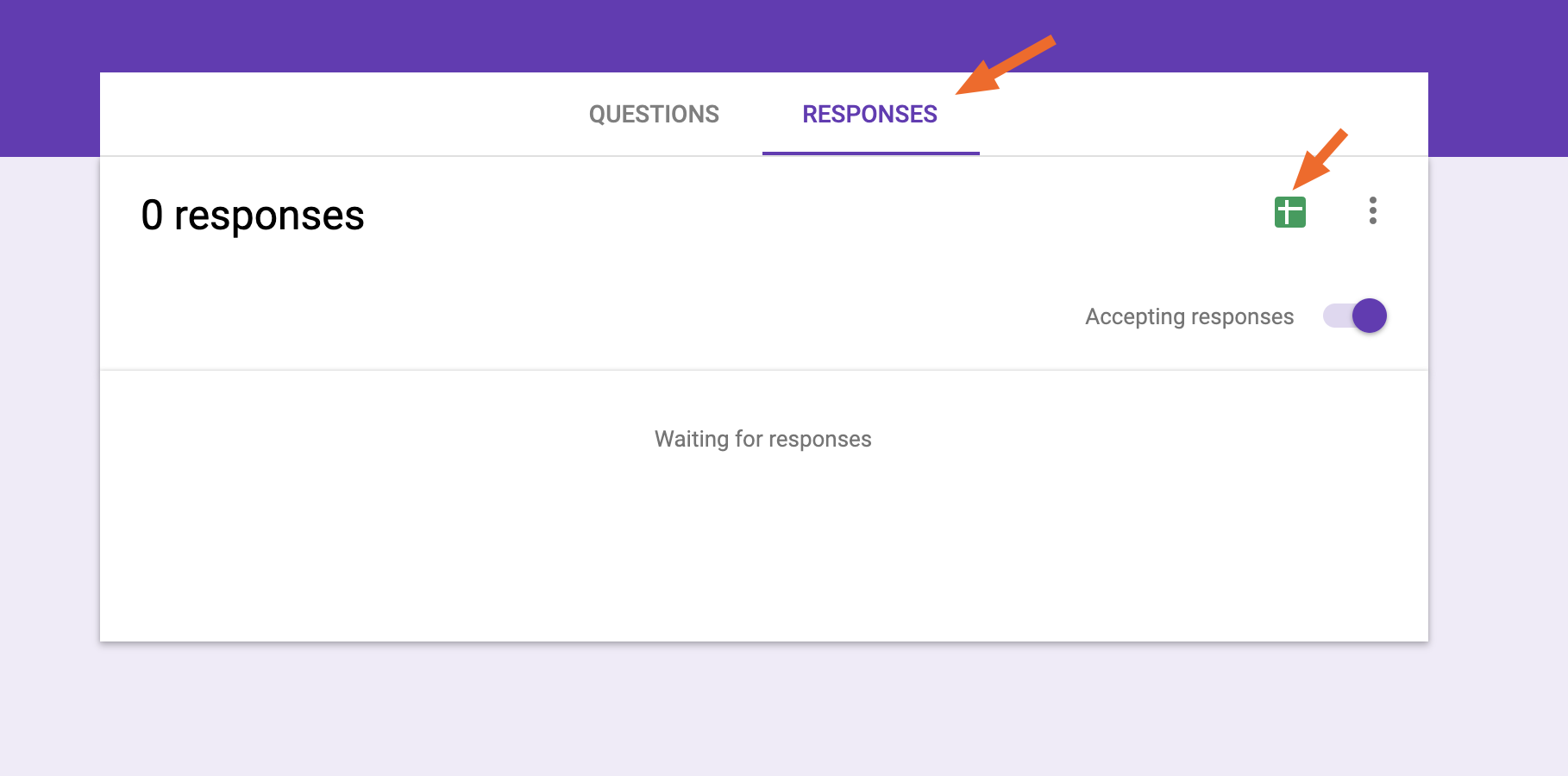 Export to a spreadsheet in Google Forms