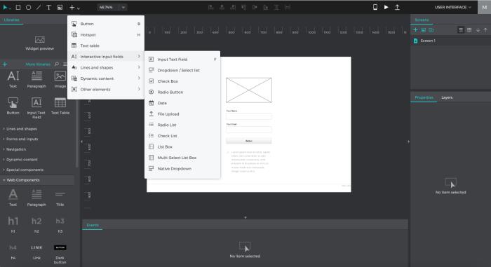 Justinmind interface