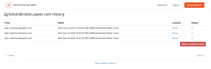 Mailbox History page showing three emails received by the parser address