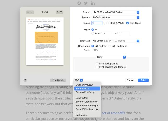 Opciones de PDF de MacOS
