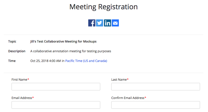 Zoom registration page for attendees