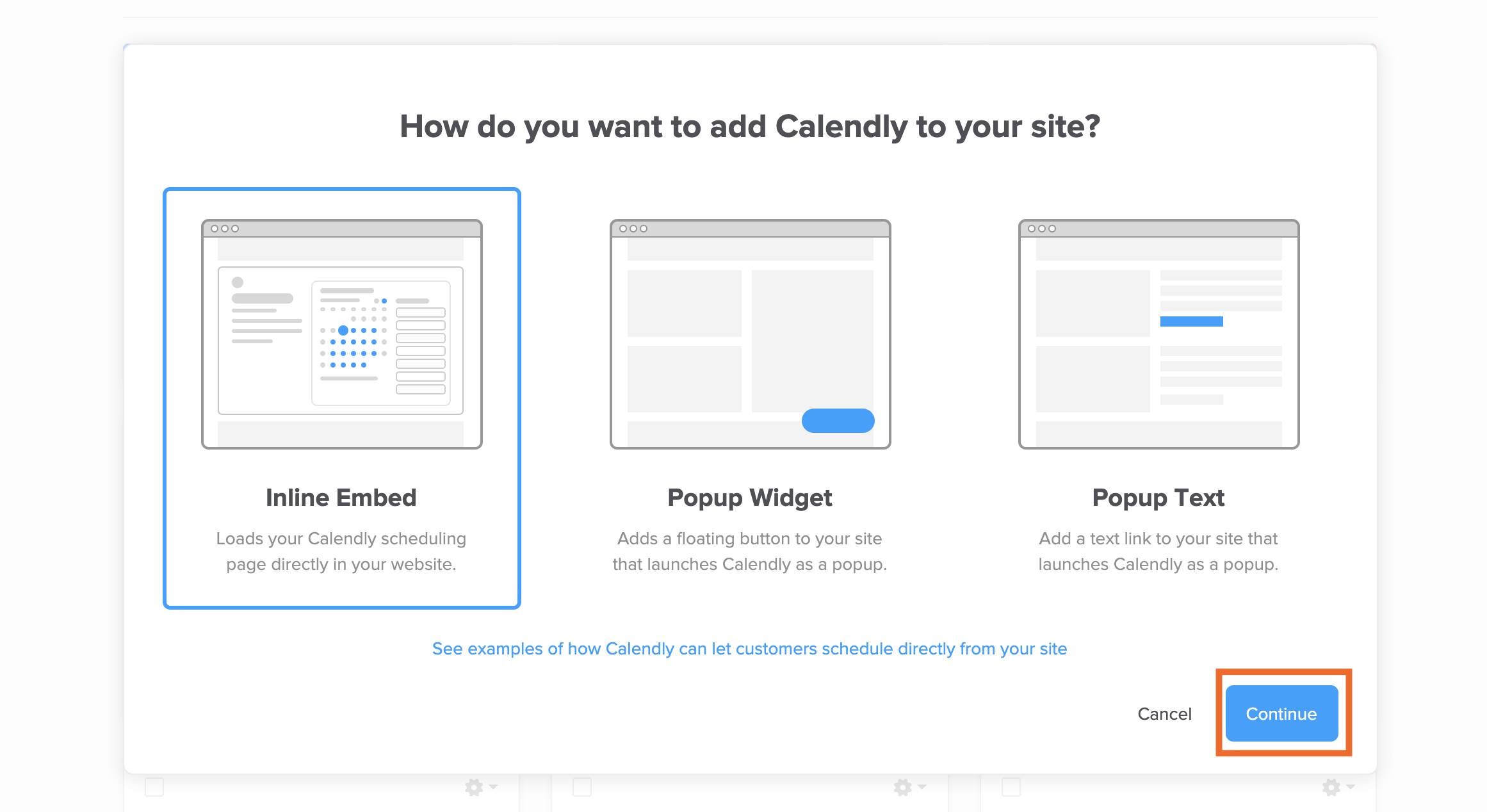 Calendly embed options