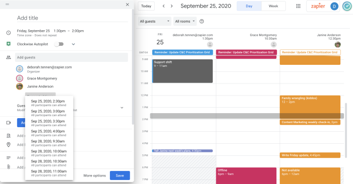 Google Calendar find a time feature