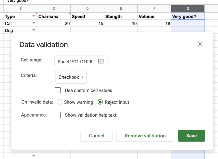 Checkbox for data validation in Google Sheets