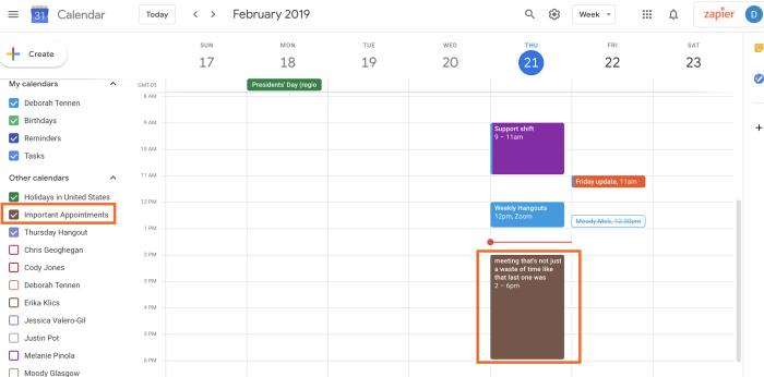 Google Calendar view shared