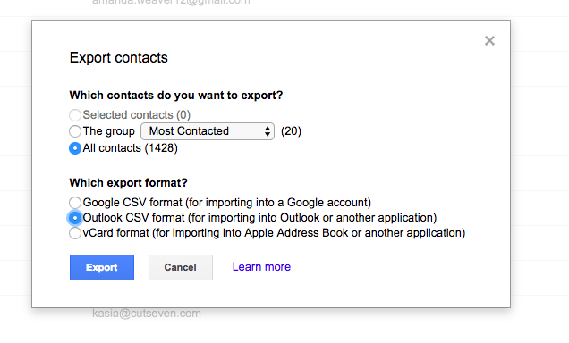 Select contacts in Gmail