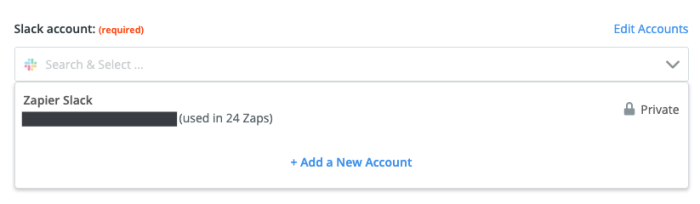 A screenshot of the trigger step in the Zap editor. A Slack account is selected in the Choose Account dropdown menu.