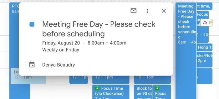 A screenshot from Google Calendar
