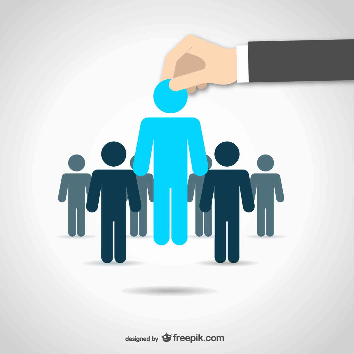 Vector image of one candidate being selected from a group