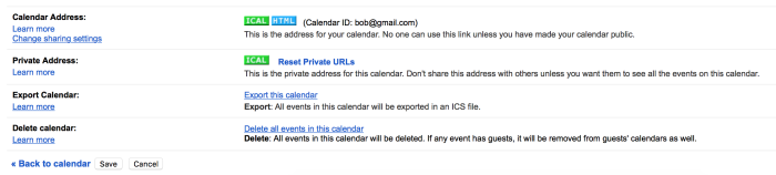 Export or Publish Google Calendar