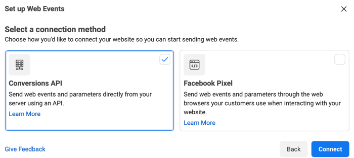 Two options for setup are shown: Conversions API and Facebook Pixel. Conversions API is selected.