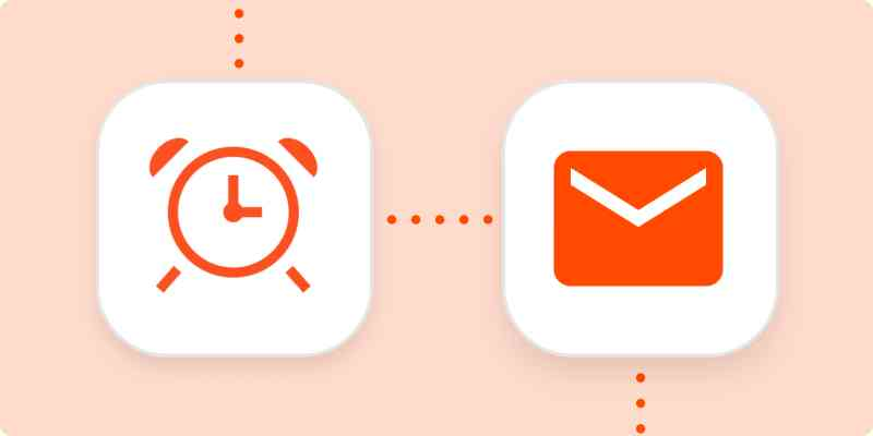 Icons representing an alarm clock and email in white squares on a light orange background.