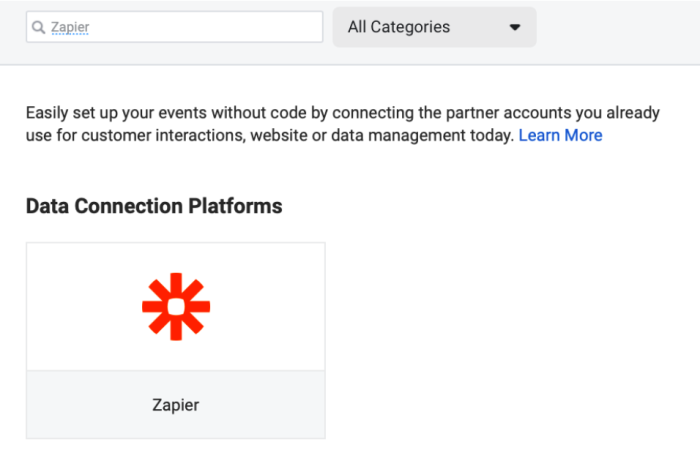 """Search of the data connection platforms shows one result for """"Zapier"""" under """"All Categories"""""""