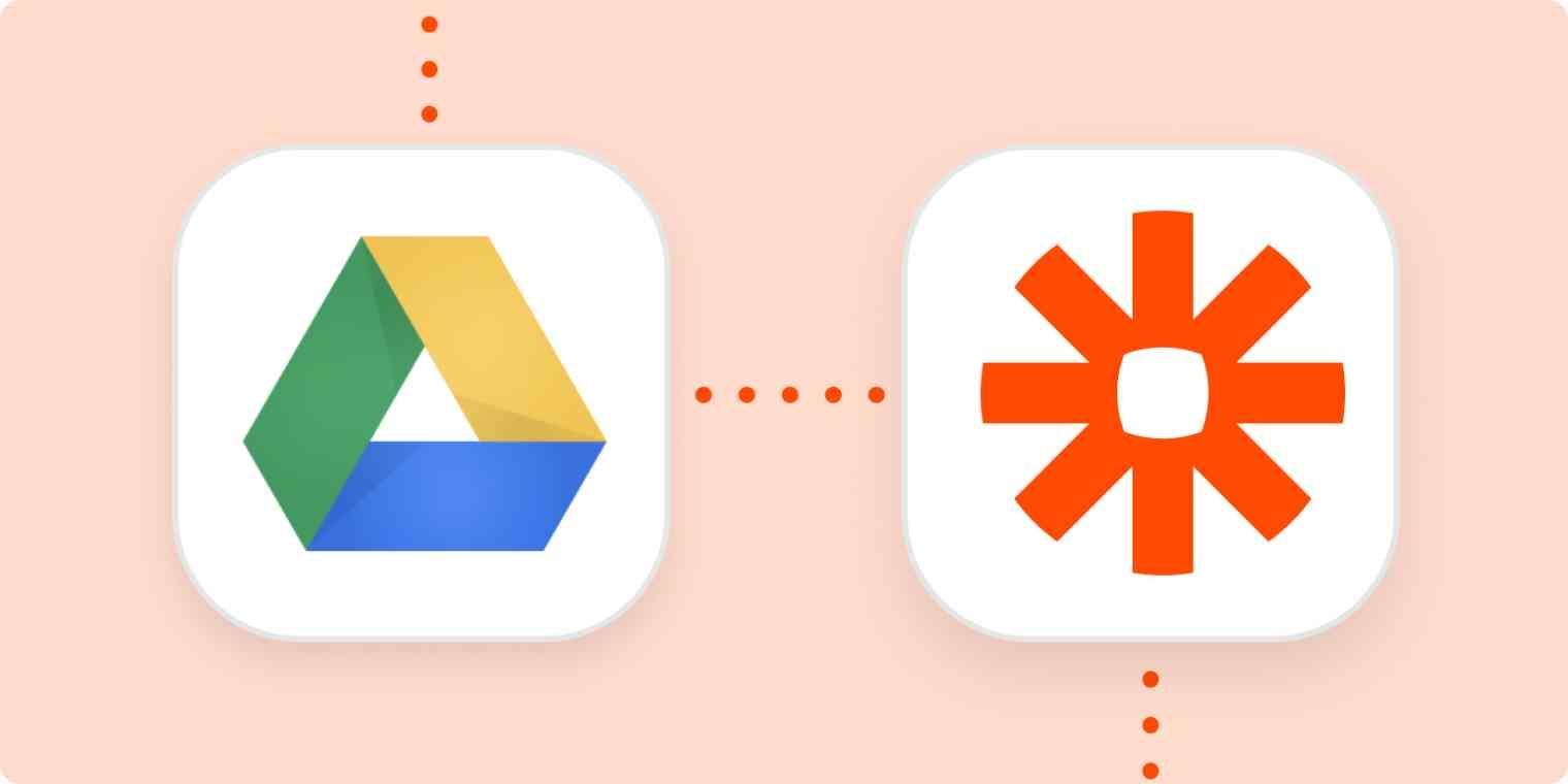The Google Drive and Zapier logos.