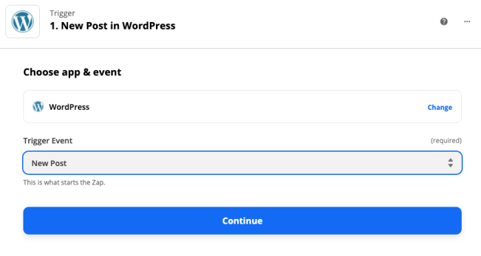 WordPress' New Post trigger selected in the Zap editor.
