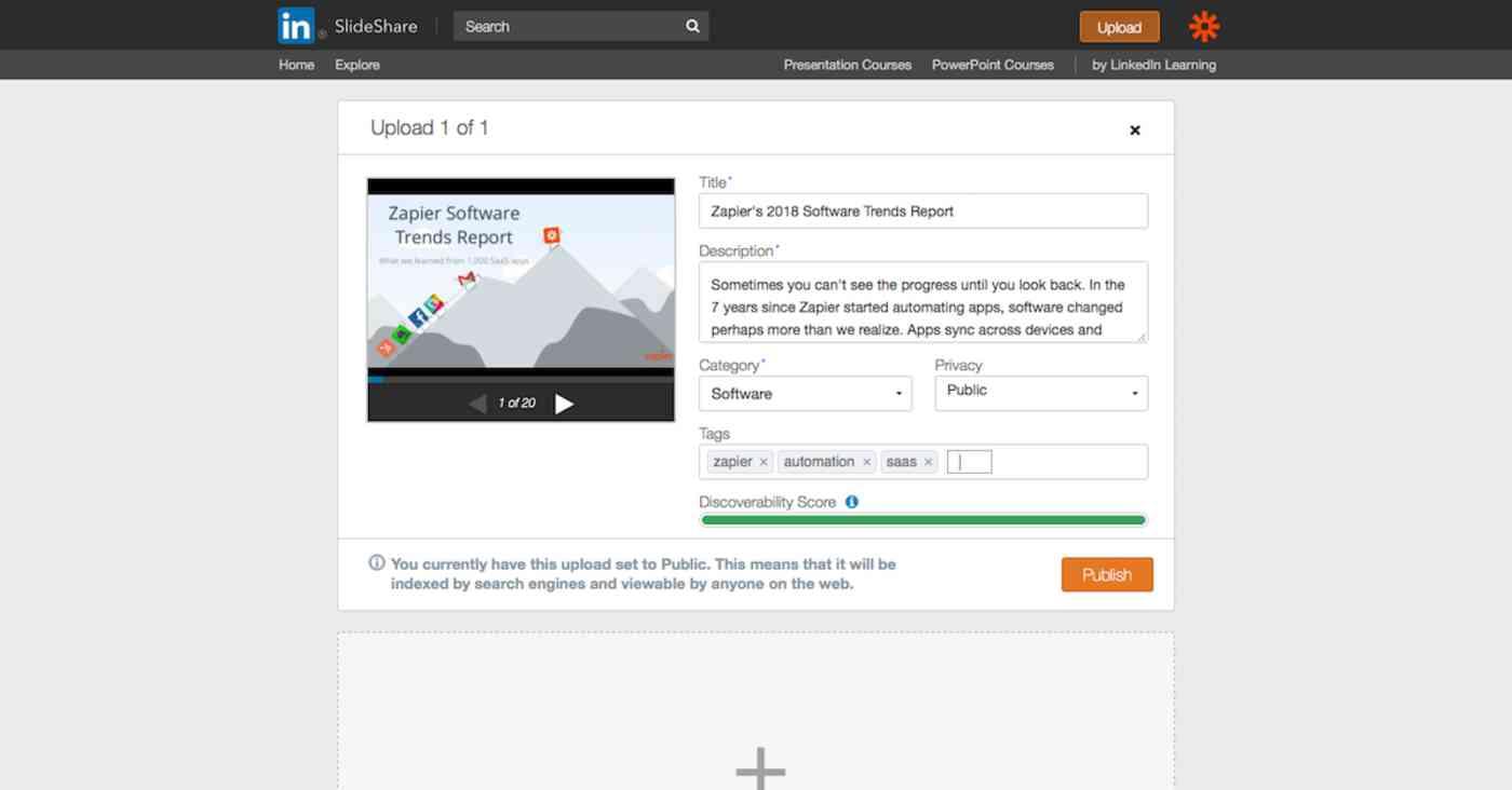 Slideshare upload options