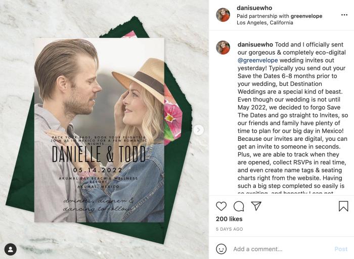 A screenshot from Greenvelope's Instagram
