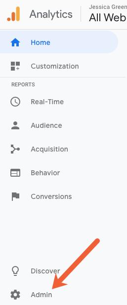 google analytics administration menu