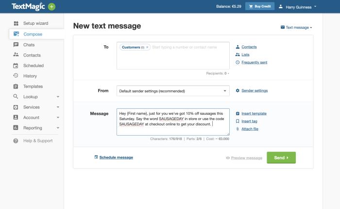 TextMagic screenshot