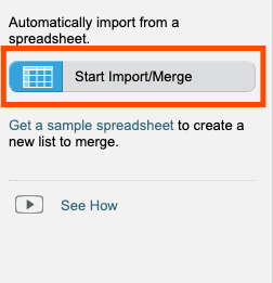 """An orange rectangle highlighting a button that reads """"Start Import/Merge."""""""