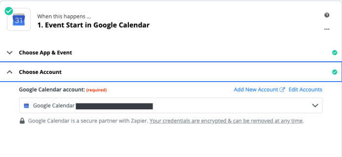 A screenshot of the Zap Editor with a specific Google account selected.