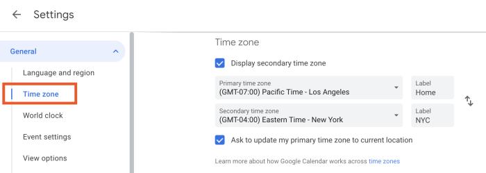 Time zone settings in Google Calendar