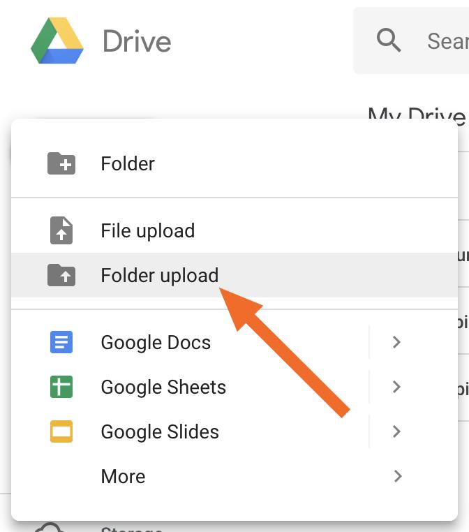 Folder upload option in sidebar menu
