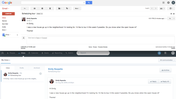 An email sent to a Gmail account (top) also automatically appears in Follow Up Boss (bottom)