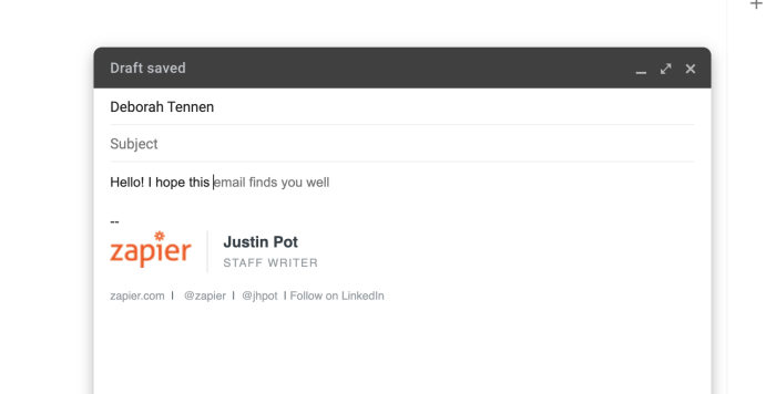 Showing Smart Compose in action in Gmail