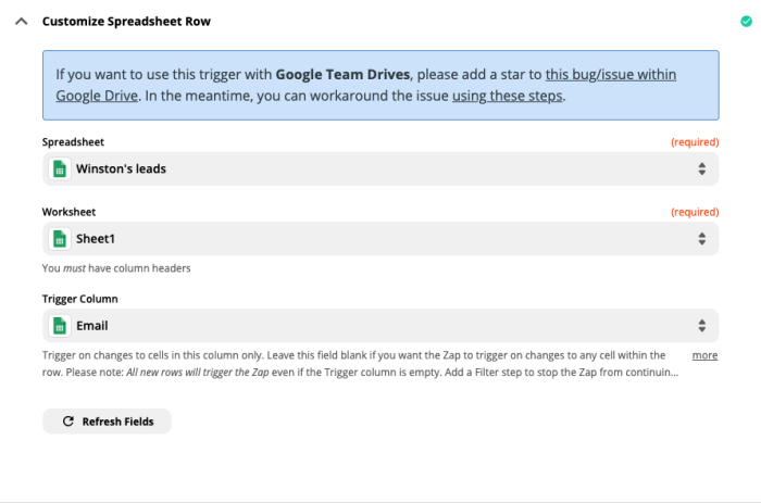 A screenshot of customizing the spreadsheet row step in the Zap Editor.
